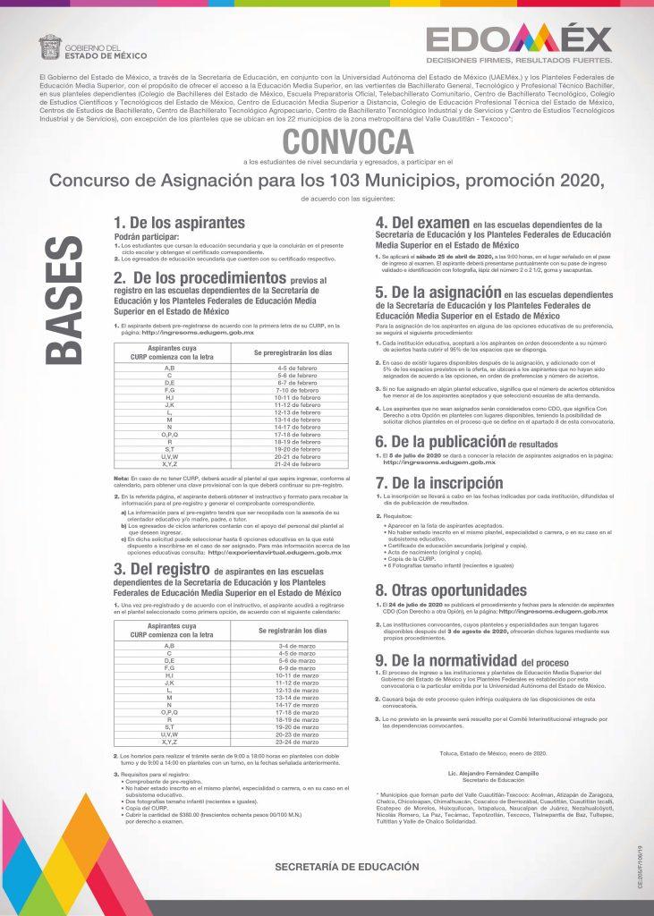 CONVOCATORIA 103 MUNICIPIOS 2020